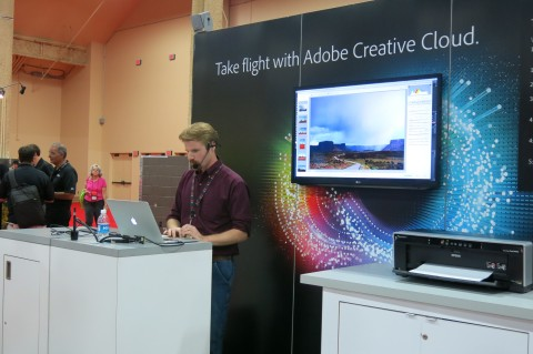 Jake Peterson demos Adobe Camera raw at the Adobe booth.