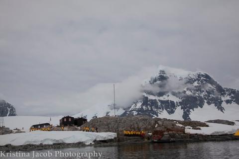Passengers from Quark Expeditions Sea Spirit arrive at Port Lockroy